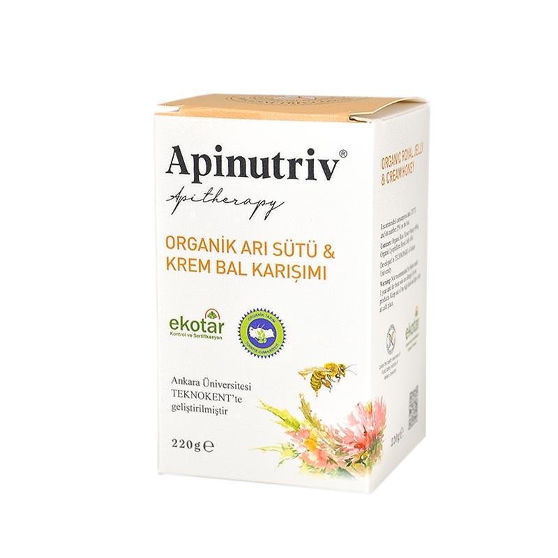 Apinutriv Organik Arı Sütü & Krem Bal Karışımı 220g